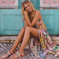 Trendy Kadınlar Elbise Kapalı Omuz Çiçek Geometri Kayışı Boho Yaz Plaj Kolsuz Parti Polyester Backless Elbiseler Bir Adet X1BU #
