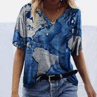 Kadın T-shirt Soyut Baskı Giysileri Tişörtleri Kadın Nedensel Moda Kısa Kollu Baskılı V Yaka Tops Tee Indie estetik