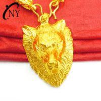 Толстые позолоченные мужские модные головки головки головки кулон латунь позолоченные моды головы волка подвеска подвеска золото мужская подвеска
