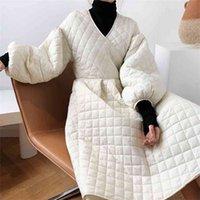 Winter autumn Elegant design dress black cotton padded coat womens clothes diamond lattice jacket for women clothing 210508