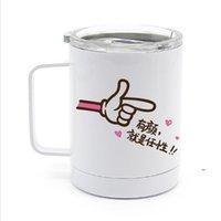Creatieve 10oz DIY Blanks Sublimatie Koffie Beker met Handvat Draagbare Dubbele Muur Roestvrijstalen Water Car Cups FWBB9414