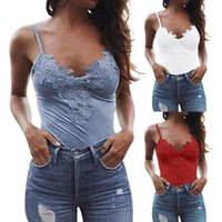 Women's Tanks & Camis Women Sexy Solid Color V Neck Sleeveless Lace Camisole Vest Bottoming Blouse Punk Streetwear Tops Female Gift