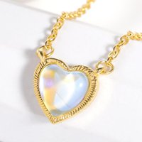 Pendant Necklaces Colorful Opal Heart Necklace For Women 316L Stainless Steel Gold Chain Fashion Party Wedding Jewelry Girlfriend Gifts Chok