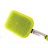Magische Reinigungsbürste Multifunktions Küche Reinigungsbürste Lange Griff Silikontopfschale Waschbürste Leicht zu reinigen Bürsten Dwe8622