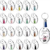 36 unids / set DIY Artesanía hecha a mano de souvenir Transparente redondo Acrílico Llavero Discos en blanco Multicolor Tassel Colgante Llavero Juego E112402