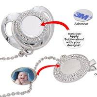 Personalizar a pacifier de bling de sublimação com clipe colar de cristais Favor Favor para Baby Keepsake Brithday Presente DHE7476