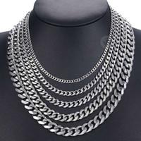 Bordsteinkubanische Herren Halskette Kette Gold Schwarz Silber Farbe Edelstahl Halsketten Für Männer Modeschmuck 3/5/7/9 / 11mm DKNM07
