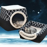 Cat Beds & Furniture Nest Warming For Indoor Dog House With Mattress Puppy Cage Pets Winter Warm Cozy Kennel Small Dogs Cats
