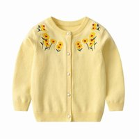 Pullover 27kids Toddlers Baby Knitted Cardigans Sweater Girls Winter Clothes Children's Jumpers Tops Floral Yellow Pullovers Coat 2-7year