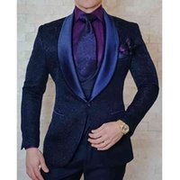 Men's Suits & Blazers Navy Blue Floral Wedding Tuxedo for Groom 3 Piece Slim Fit Casual Man with Shawl Lapel Male Fashion Jacket Pants Vest AXZ7