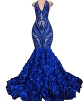2022 Long Royal Blue Mermaid Prom Dresses See Through Sparkly Sequins Deep V Neck Halter 3d flower African Formal Evening Party Gowns