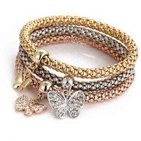 BJ012 Hanzhishishang Tre Color Suit Elastic Popcorn Catena di mais con bracciale a ciondolo a farfalla diamantato