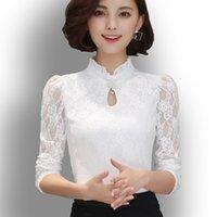 Designs Womens Chiffon Lace Blouses Tops Fiminina Blusa Long Puff Sleeved Shirt Ruffled Button Tops Plus Size 6XL xl
