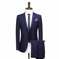 Tamaño grande 8xl 7xl 6xl 2 pieza traje de gama alta de gama negro hombre negocio banquete boda para hombre trajes chaqueta (abrigo + pantalones +) pantalones A9m8 #
