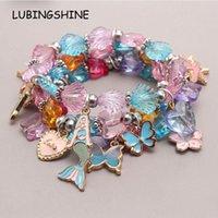 Charm Bracelets Fashion Shiny Crystal Dolphin Butterfly Heart Pendant Beaded Bracelets&Bangles For Women Girls Acrylic Cartoon Kids Jewelry