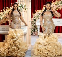 African Organza Wedding Dresses with Ruffles Train Beaded gold champagne Mermaid Long Sleeves Arabic Bridal Gowns robe de mariage Lace-up