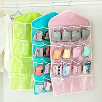 Storage Bags 16 Pockets Socks Bra Underwear Hanging Organizer Tidy Rack Hanger Door Bag For Bathroom Living Room Household Sundries