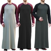 Men islamic Arabic Kaftan Muslim Long T Shirt Long Sleeve Patchwork O Neck Casual Robes Middle East Men Jubba Thobe 2021