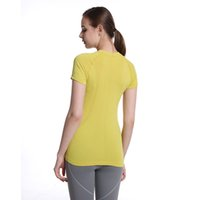 Yoga T-shirt for Women's Short Sleeve Seamless Breathable Round Neck 2.0 Short Shirt Sports Top Outdoor Clothing Tank-L43