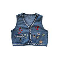 Weste Kids Mantel Kinder Westen Mädchen Kleidung Frühling Sommer Denim Blume Tops 2-6Y B5291