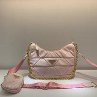 2pcs 2021 디자이너 Luxurys Hobo 빛 녹색 여성 크로스 바디 가방 다이아몬드 황금 체인 고품질 가죽 패션 지갑 어깨 토트 백