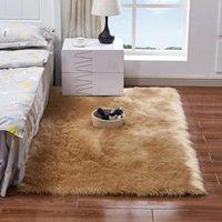Carpets Super Soft Rectangle Faux Sheepskin Fur Area Rugs For Bedroom Floor Shaggy Silky Plush Carpet Rug Bedside F1031