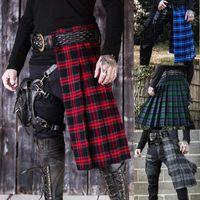 Mandylandy 레트로 중반 - 허리 남성 하카마 바지 스코틀랜드 격자 무늬 콘트라스트 치마 Pleating 패션 캐주얼 퀼로트 바지 남자