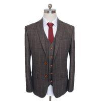 Fashion three piece men's formal business Plaid suit engagement British dress private customization (coat + Vest + pants)