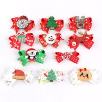 Baby Christmas Hair Accessory Bow Clip For Girl With Sequin Santa Claus Elk Hat Tree Barrettes Hairband Stretchy Scrunchy Boutique