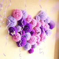 Couronnes de fleurs décoratives 10pcs 20cm 25cm de papier de soie Pompes Boules de mariage pour Fournitures de fête DIY Craft Fleur Poms