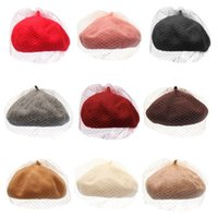 Ladies Women Autumn Winter Warm Wool Beret Cap Mystery Net Veil Style Female Outdoor Elegant Beanies Bonnet Hat Y1QD
