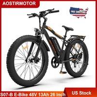 Amerikaanse voorraad Aostirmotor S07-B elektrische fiets 26 inch vetband Sneeuwberg Ebike 750W Motor 48V 13AH Lithium batterij fiets