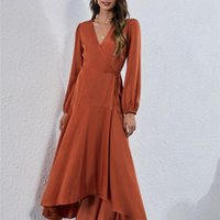 Casual Dresses ATUENDO Autumn Solid Party Dress For Women Fashion Wedding Guest Maxi Robe Leisure Vintage Satin Silk Women's Clothing