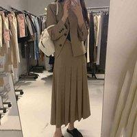 Two Piece Dress Set two vintage and elegant pieces, women's clothes for autumn winter, long blazer, plissado, QLWK