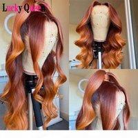 Оммре оранжевый имбирь цветные 13x4 кружева передний человек предварительно сорванный для черных женщин бразильские свободные волны ременные парики волос