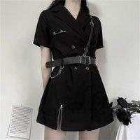 Dress summer new fashion chic Hong Kong style retro little black dress waist slim skirt temperament dress female ins hot selling