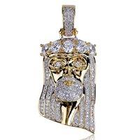 Whosale Moda Bakır Altın Gümüş Renk Kaplama Buzlu Out İsa Yüz Kolye Kolye Mikro Açacağı CZ Taşlar Hiphop Bling Takı
