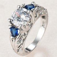 트렌디 한 여성 흰색 라운드 크리스탈 링 매력 실버 컬러 꽃 결혼 반지 여성을위한 귀여운 푸른 심장 지르콘 약혼