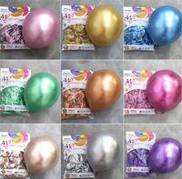 10 pulgadas de decoración brillante de metal Globos de látex de látex de cromo grueso colores metálicos inflables bolas de aire globos fiesta de cumpleaños 50pcs / set