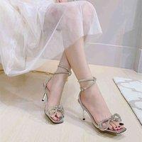 Estilo Estilo Cristal Mulheres Sandálias Luxo Rhinestones Bowknot Sapatos De Casamento De Verão Salto Alto Gladiador Sandálias Festa De Prom Shoes Wenshet
