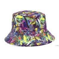 مطبوعة حوض قبعات في الهواء الطلق المرأة الصياد قبعة واقية من الشمس uv تنفس مظلة القبعات الربيع الصيف واسعة بريم كاب HWD6256