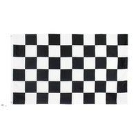 Doğrudan Fabrika Fiyat 100% Polyester 3x5fts 90x150 cm Siyah Beyaz Kare Damalı Yarış Araba Bayrağı Dekorasyon Owb9308