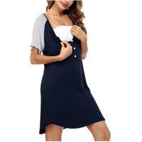 Maternity Dresses Women's Pajamas Short Sleeve Nursing Nightdress Pregnancy Breastfeeding Dress Vêtements Maternité