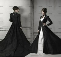 Medieval chapel Train Beading Satin Top Bridal Dresses vintage black white Gothic embroidery wedding Dresses With Long Sleeves coat two pieces
