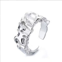 European and American hip-hop cold art style ring folds irregular wild stacking index finger opening adjustment