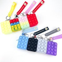 Finger push Bubble Coin Purse Toy Rainbow Macaron Color Party Favor Bag with Keychain Change Purses Silicone Stress Reliever Sensory Toys