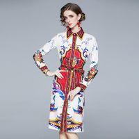 Günlük Elbiseler 2021 Moda Tasarımcısı Pist Bahar Gömlek Elbise Gevşek Uzun Kollu Kadın Giysileri Vintage Baskı Robe Femme Tatil Vestidos