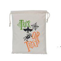 HALLOWEEN CONDY BAG Подарочный мешок угощение или трюк тыквенные напечатанные сумки холст Hallowmas Рождественская вечеринка фестиваль DrawString Bag ZZE8192