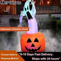 OurWarm 180cm Halloween Decorations Inflatable Ghost Pumpkin Outdoor Terror Scary Props Inflatable Toy Haunted House Supplies 200929