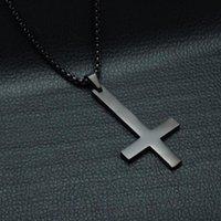 Pendentif Colliers Fashion Acier inoxydable Collier de croix inversé Lucifer Satan Punk Bijoux Chaîne pour hommes Femmes Cadeau anti-chrétien